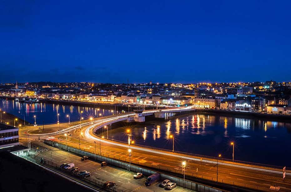 Landscape photograph of Waterford City at night taken by David Murphy